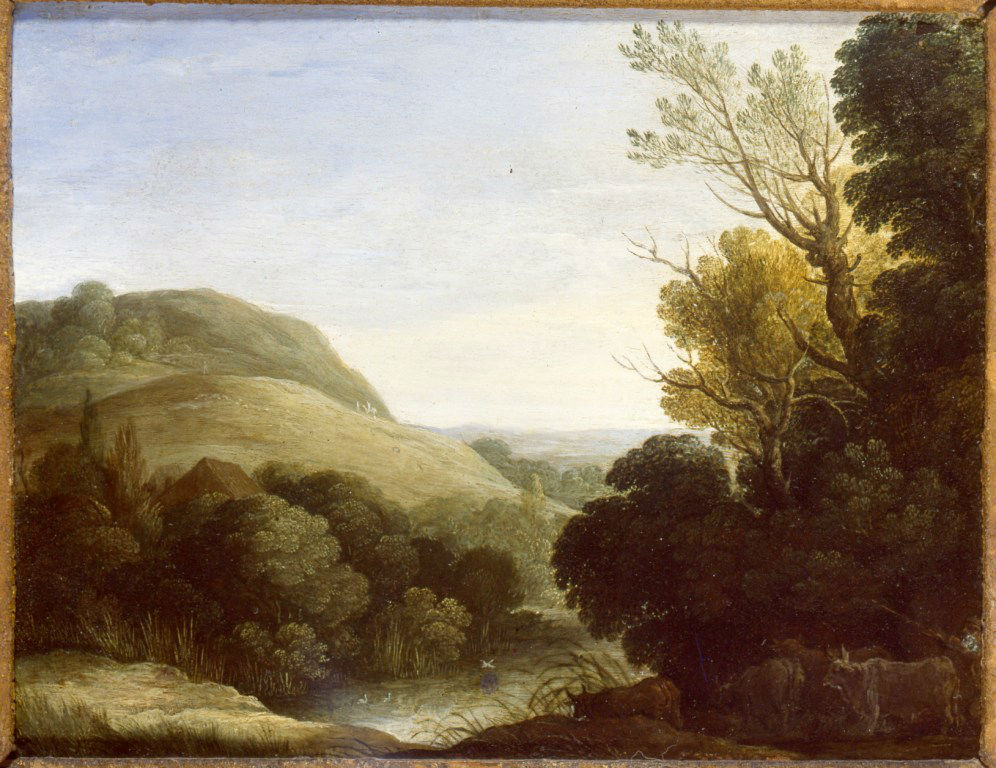 Paul Bril (c.1554-1626), </br>'A Wooded Landscape with Cattle and a Pond.'