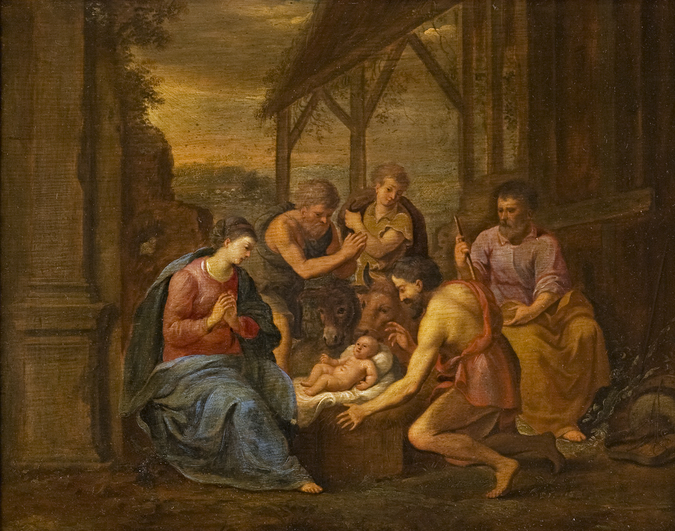 Circle of Jan van  Haensbergen (1642-1705). </br>'The Adoration of the Shepherds.'