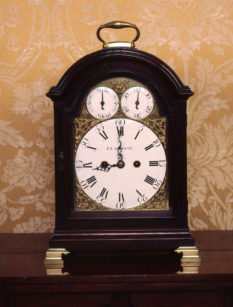 A George III mahogany bracket clock, circa 1770.