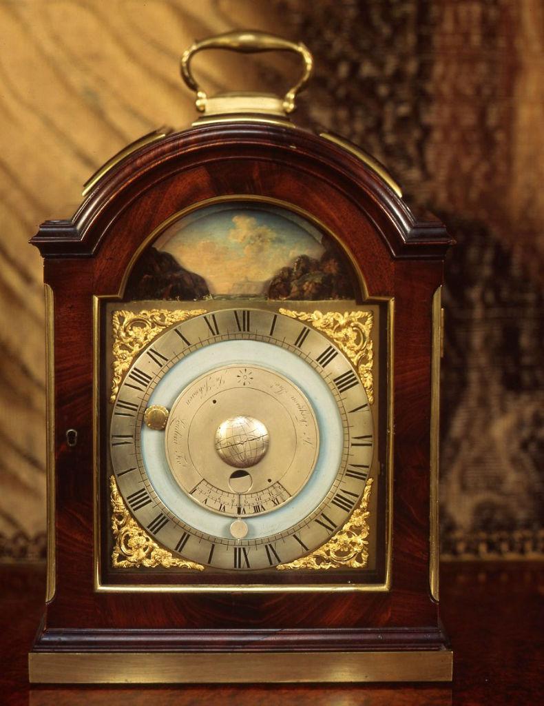 A George III mahogany tidal and lunar bracket timepiece, circa 1775.