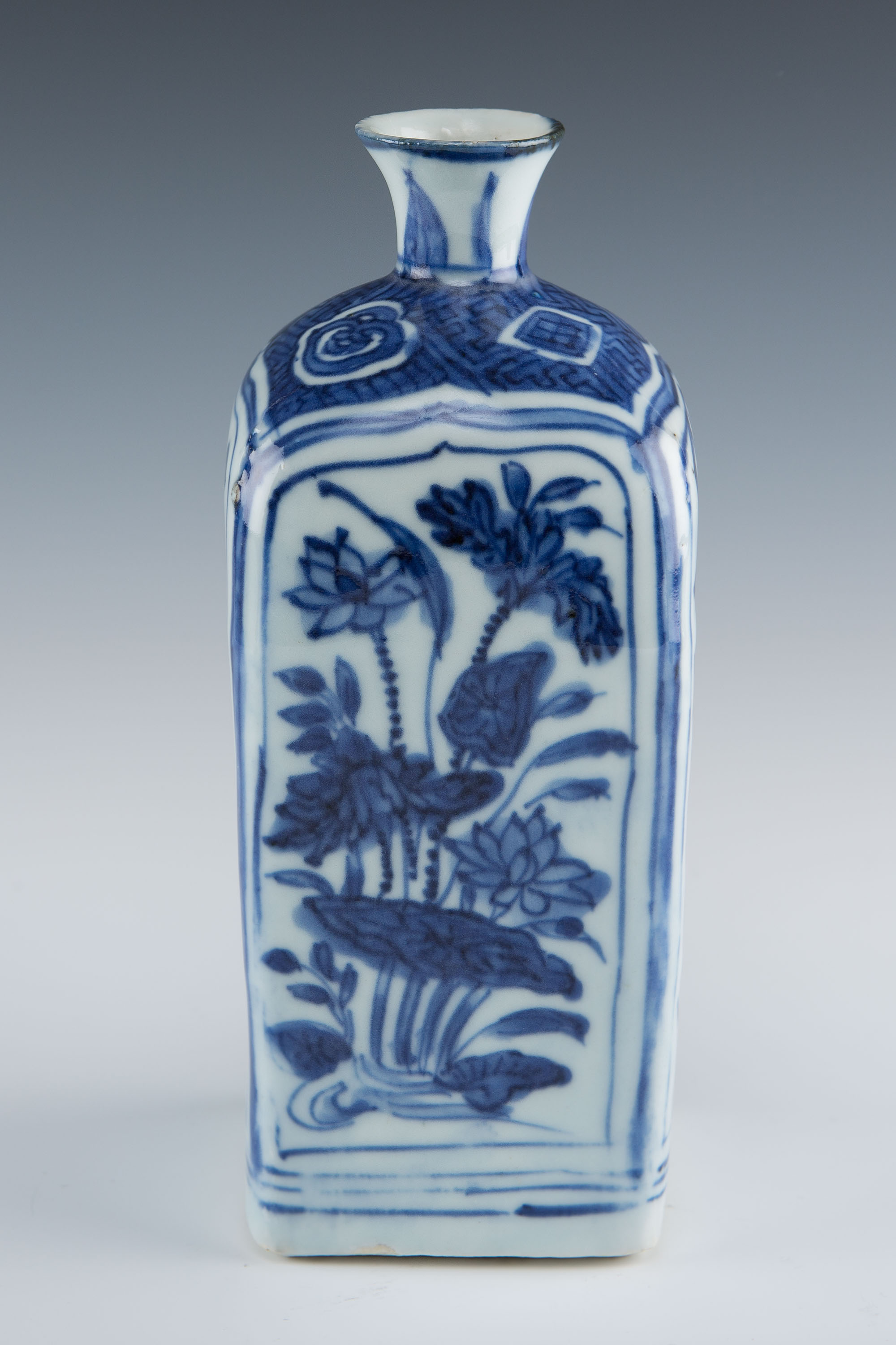 A square blue and white flask, late Ming.
