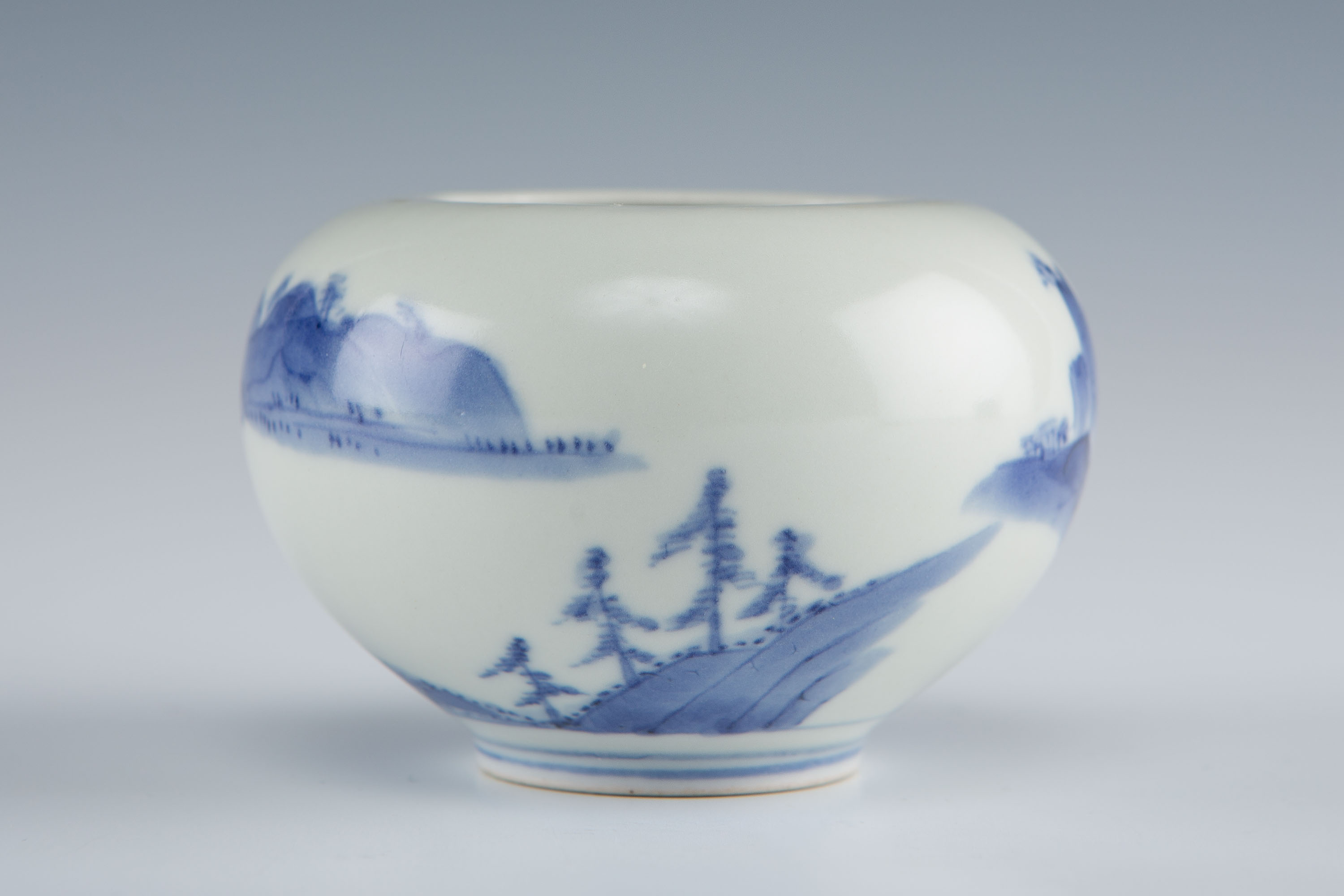 Three similar Arita or Mikawachi globular blue and white jarlets, probably 18th Century.