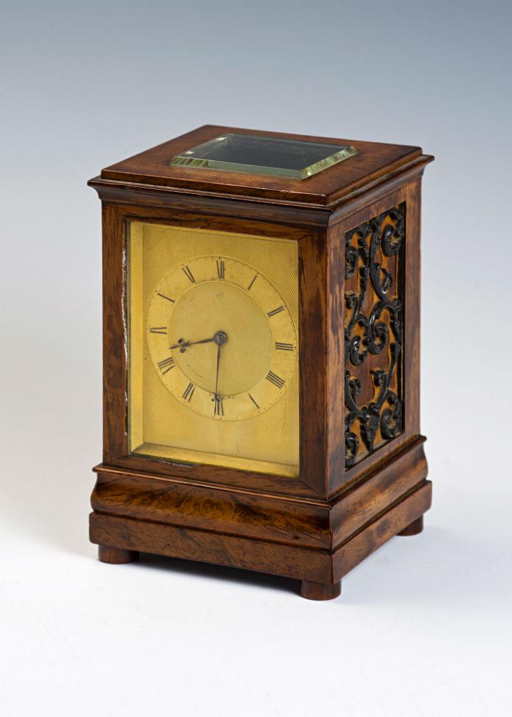 A rare Victorian rosewood chiming mantel clock, circa 1860.