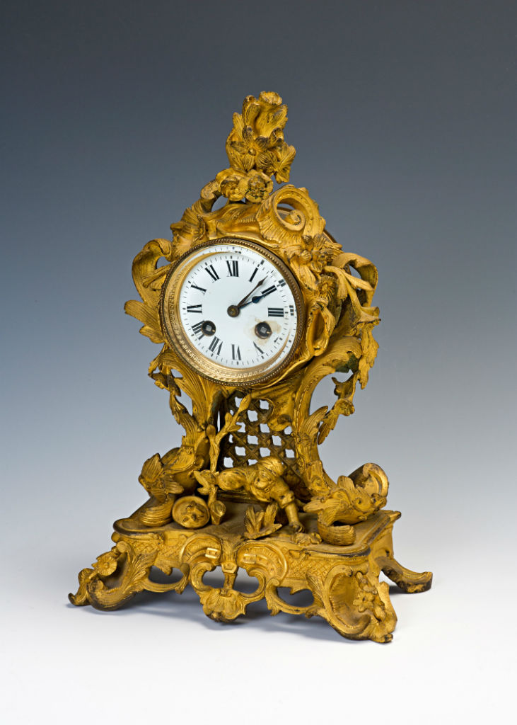 A French ormolu mantel clock, circa 1840.