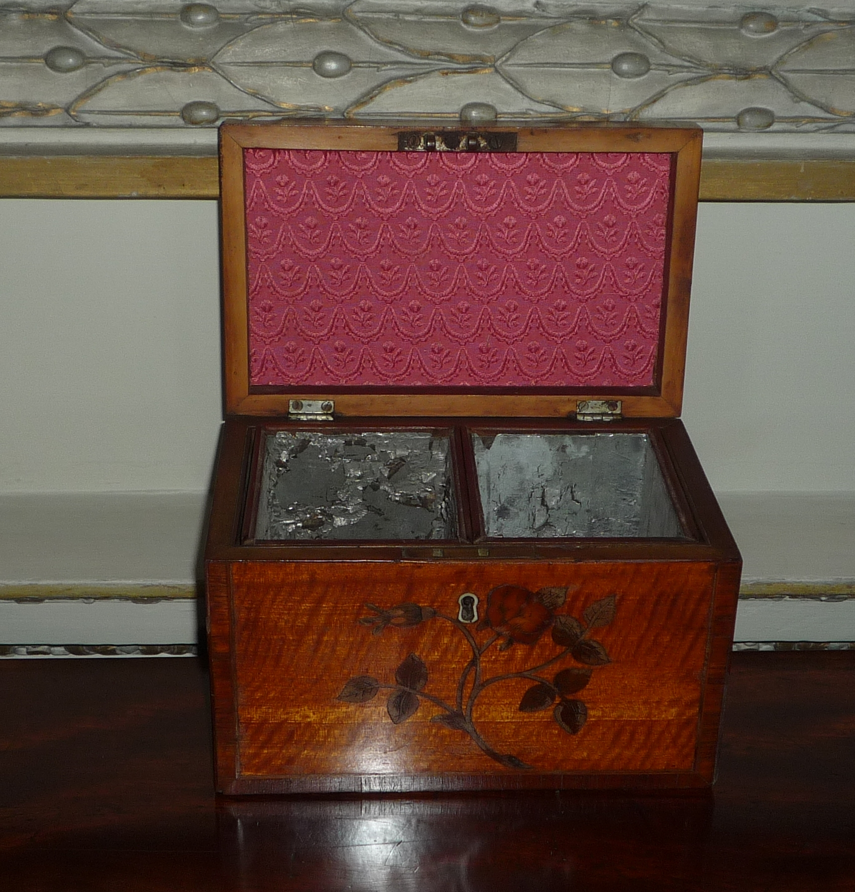 A George III satinwood and marquetry tea caddy, circa 1790.