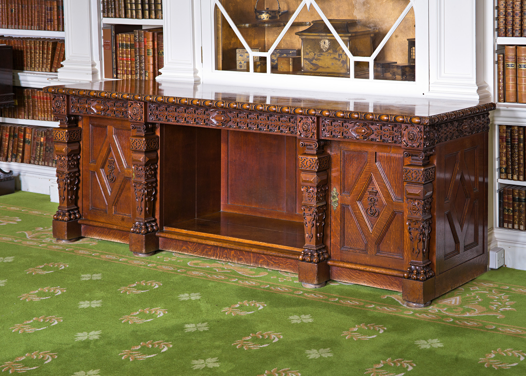 A 19th Century Elizabethan revival oak sideboard, circa 1840.