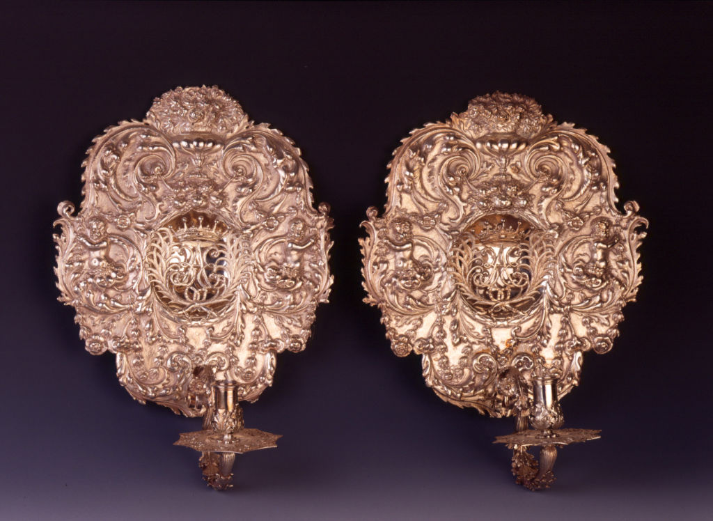A set of four Charles II sconces, unmarked.