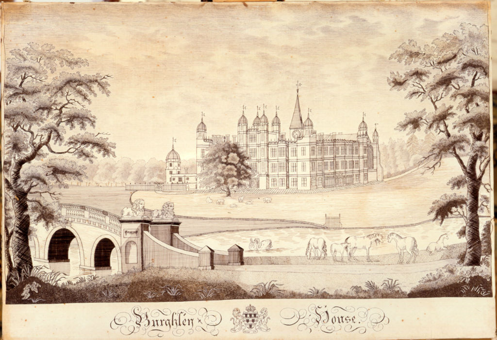 A 'hair' embroidery of Burghley House, late 18th Century.