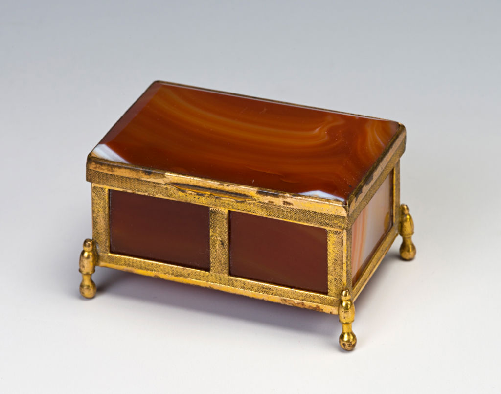 A small red agate casket, Birmingham, late 19th Century.