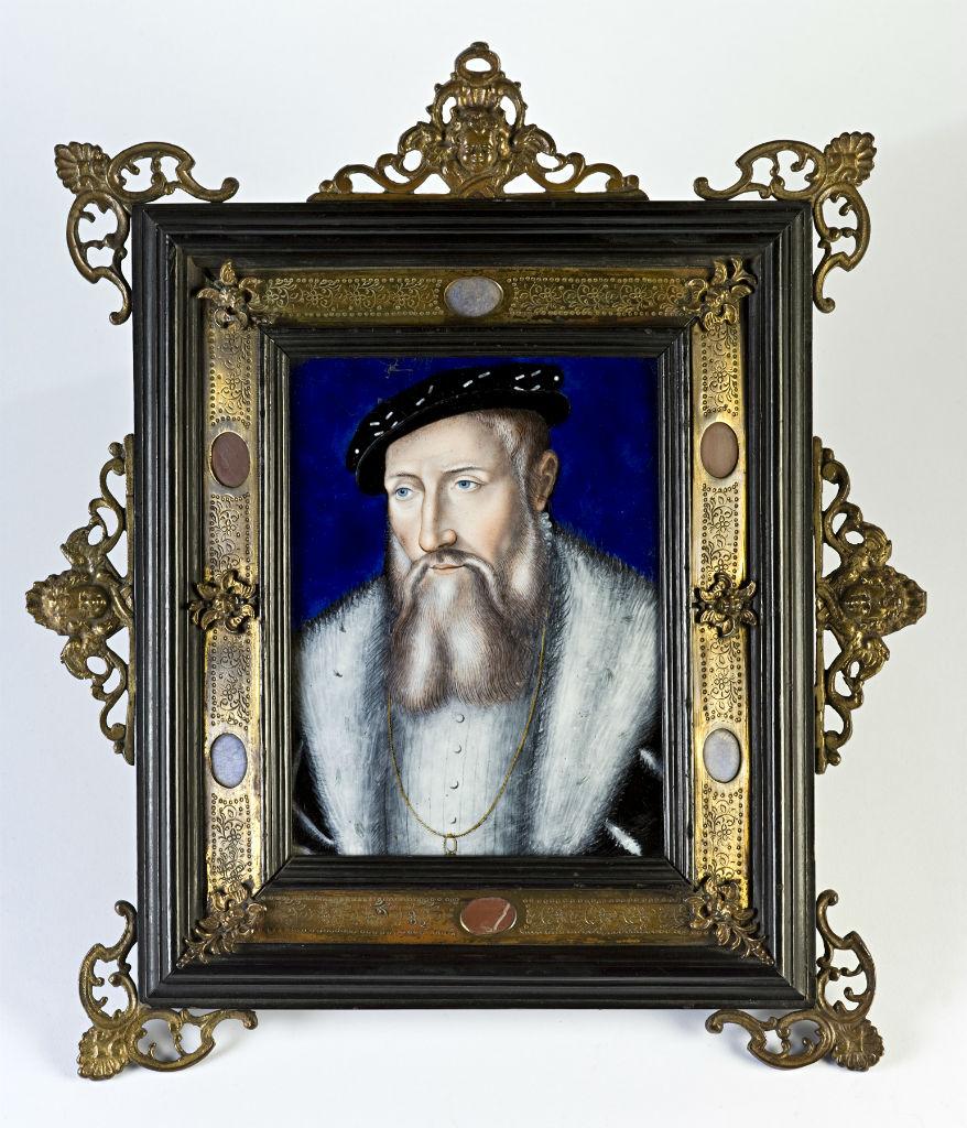 A Limoges polychrome enamel portrait plaque of Claude de Lorraine.