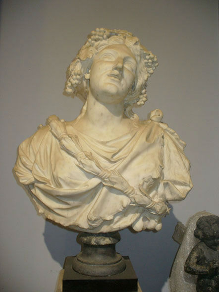 An Italian white marble bust of a Bacchante, Venice, late 17th Century.
