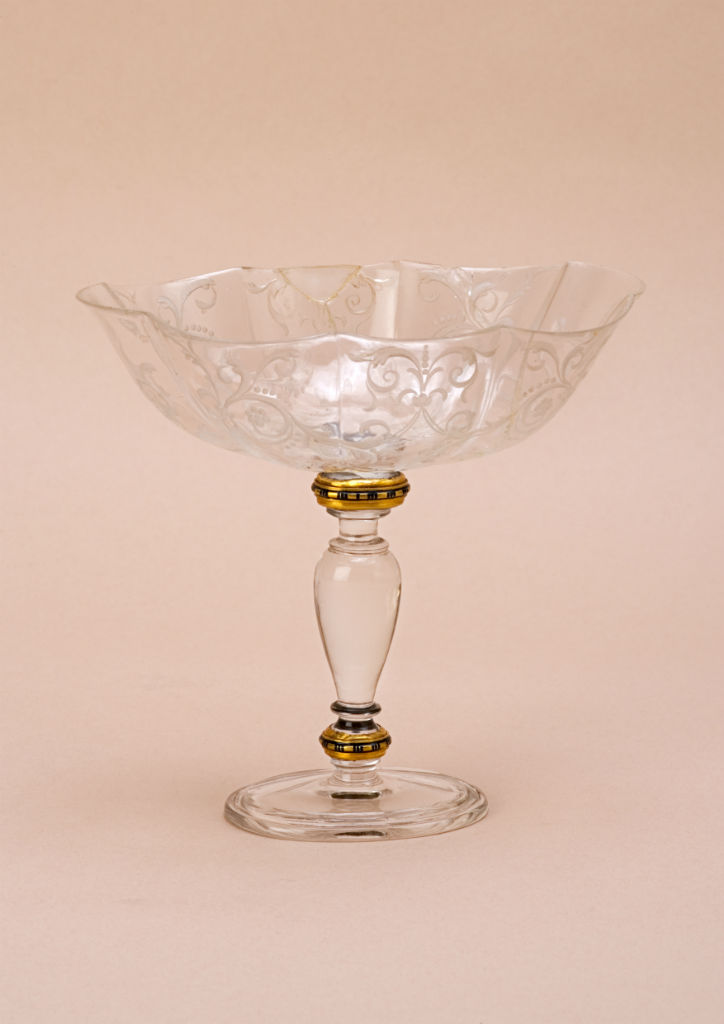 A Milanese enamel gold-mounted rock crystal standing bowl, circa 1600.