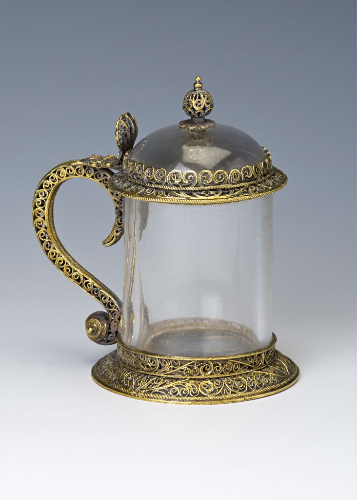 A silver-gilt mounted rock crystal tankard, probably English, mid 17th Century.