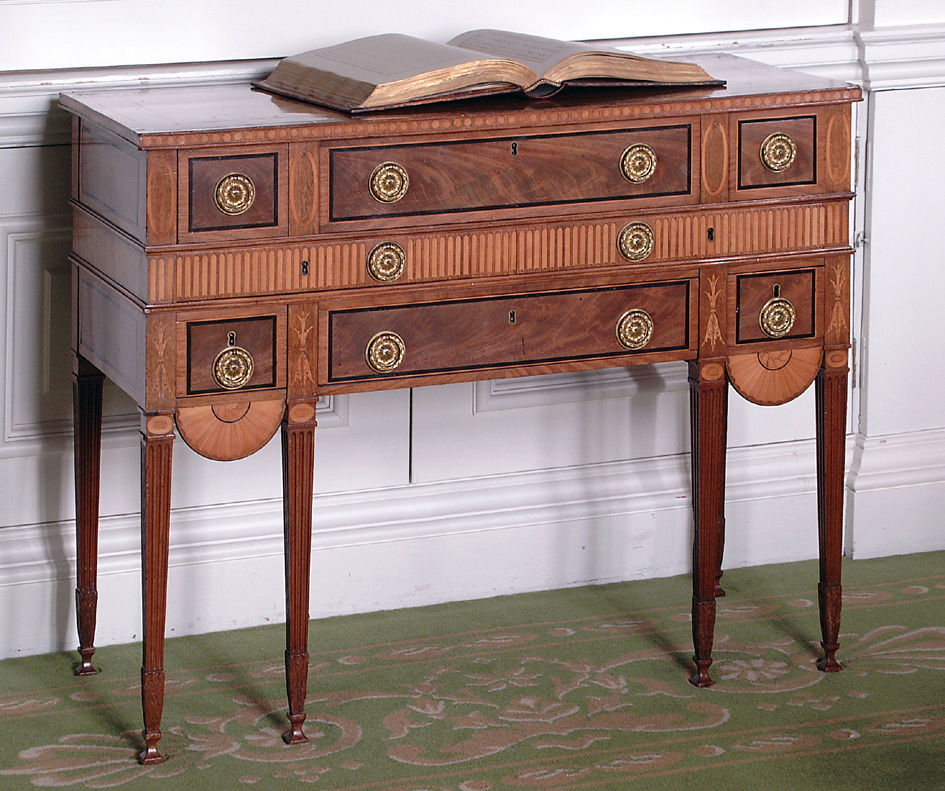 A George III mahogany secretaire desk, attributed to Mayhew & Ince, circa 1775.