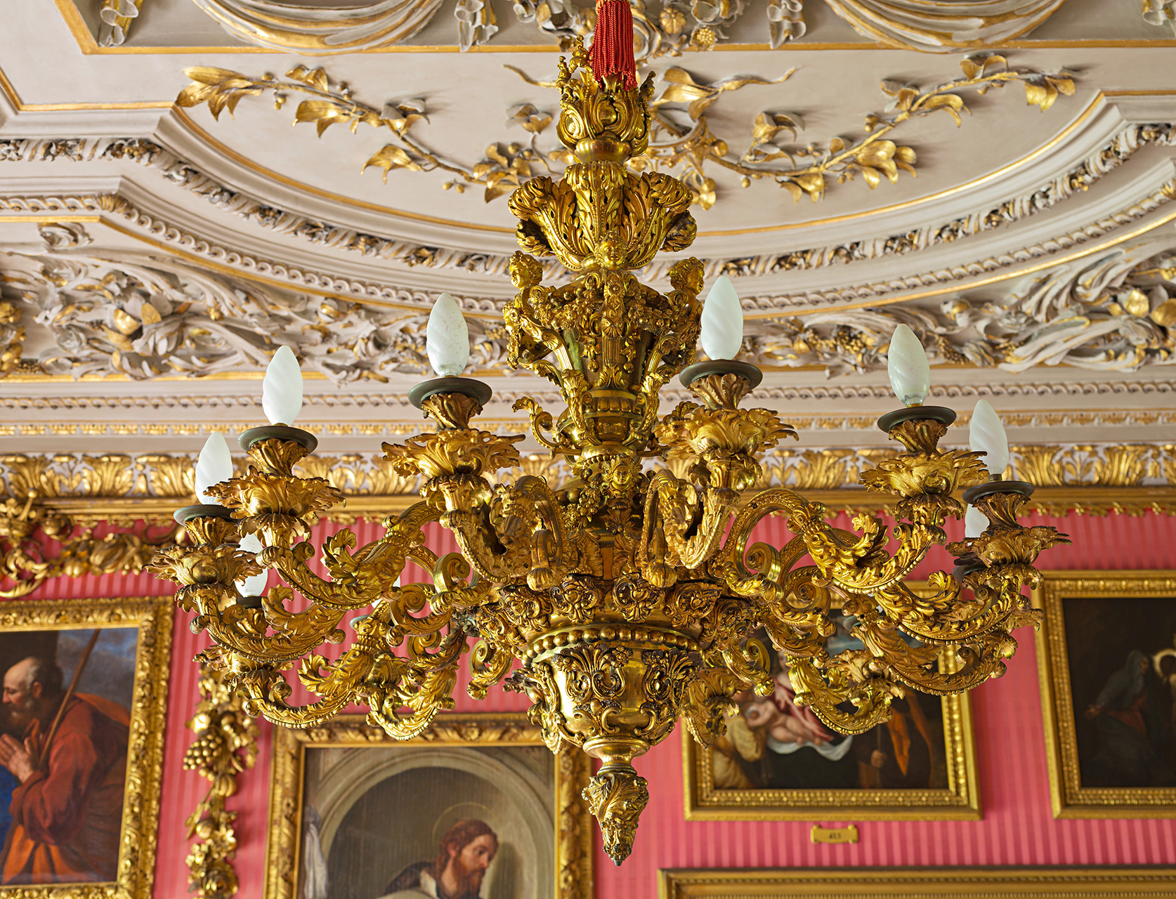 A pair of George IV gilt-bronze chandeliers, 1823.