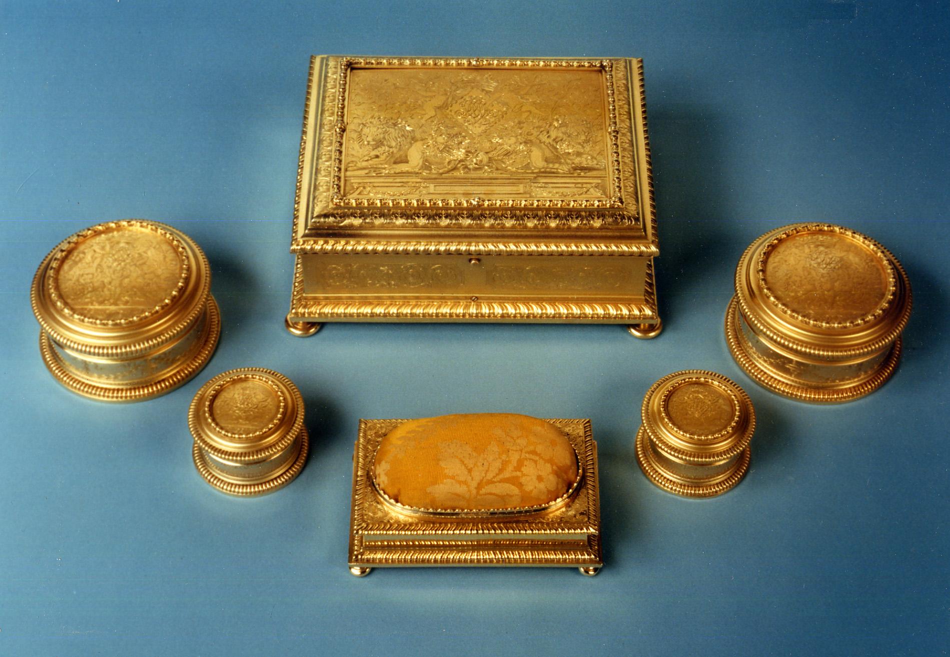 A William III silver-gilt toilet service, Pierre Harache II, 1695.