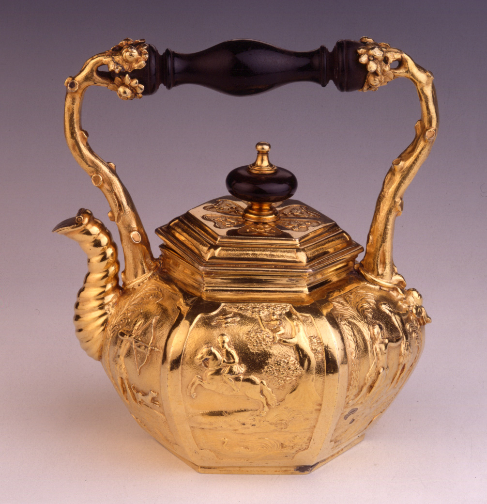 A William III hexagonal silver-gilt teapot, Pierre Harache, London, 1695.