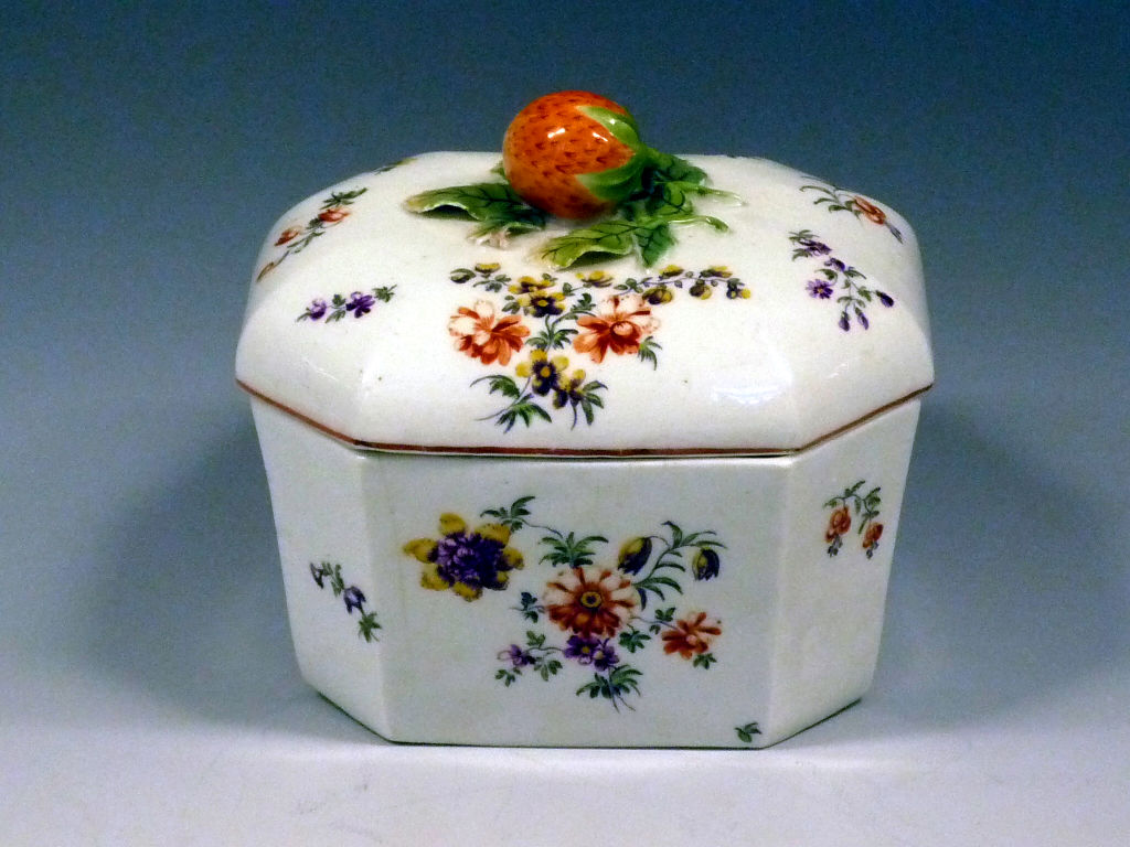 A set of seven Derby butter tubs and four covers, circa 1758.