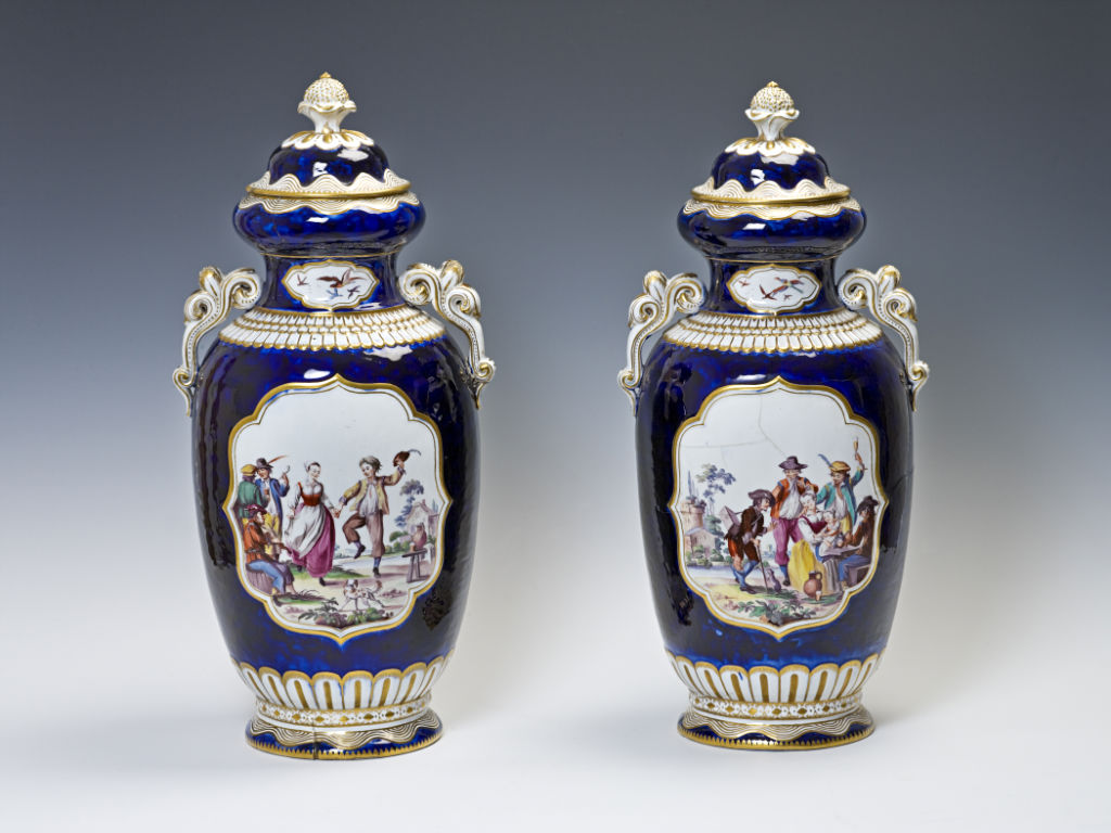 A pair of Chelsea vases and covers, circa 1760.