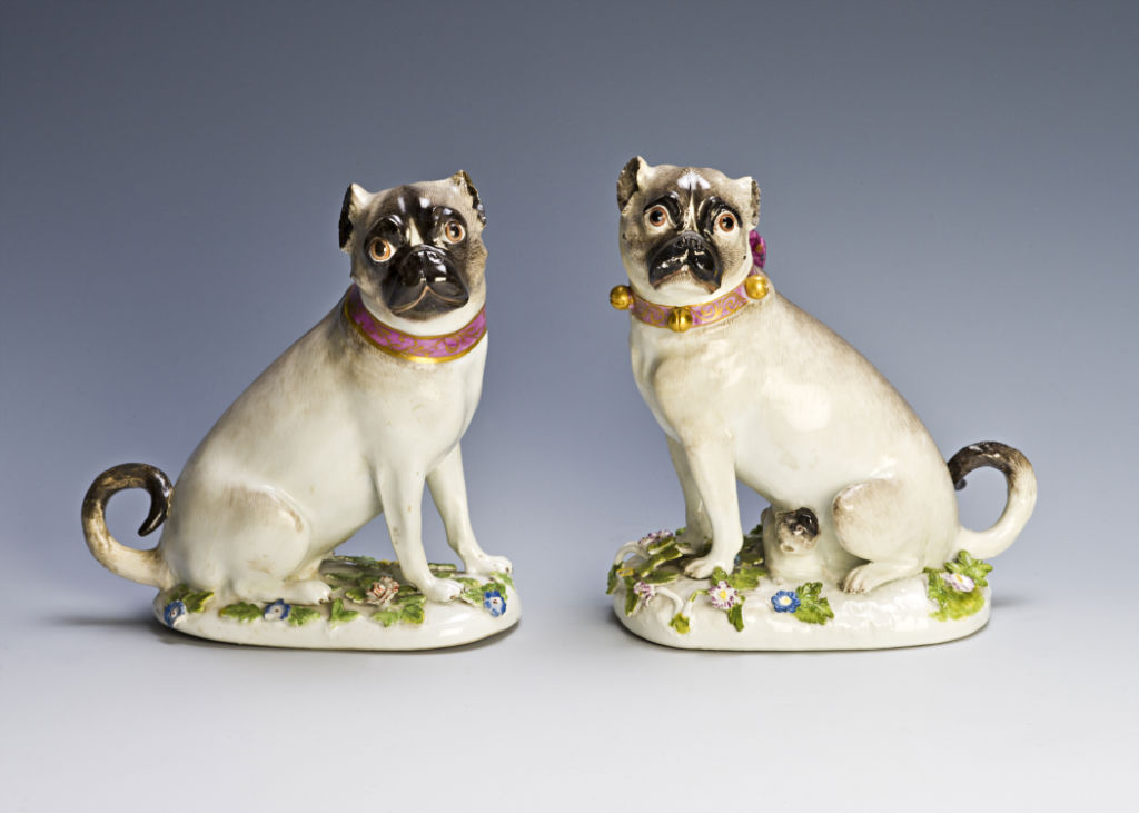 A pair of Meissen pug dogs, circa 1745.