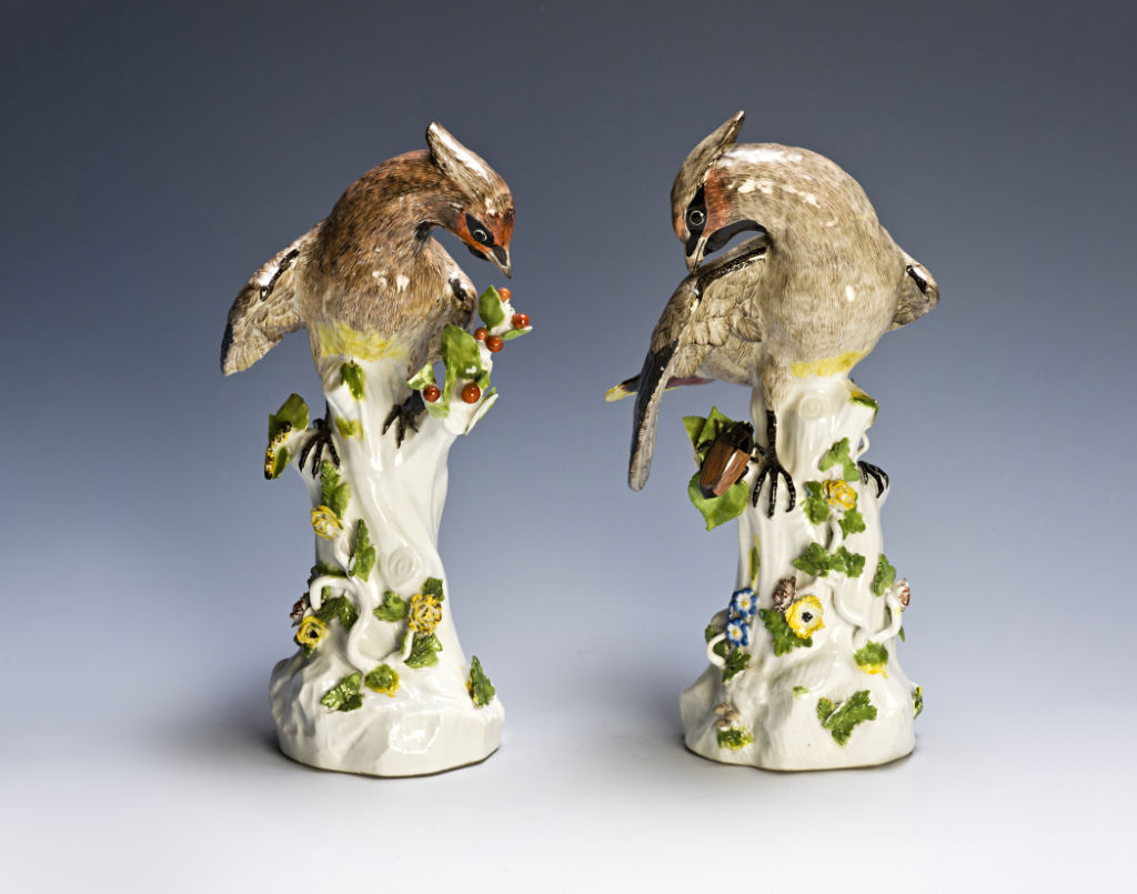 A pair of Meissen figures of waxwings, circa 1741.