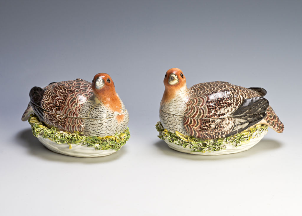 A pair of tureens, each modelled as a partridge, German, circa 1740.