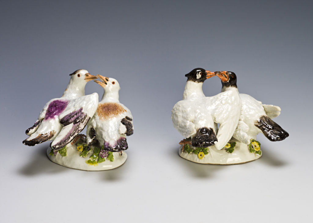 A pair of Meissen groups of nesting doves, circa 1745.
