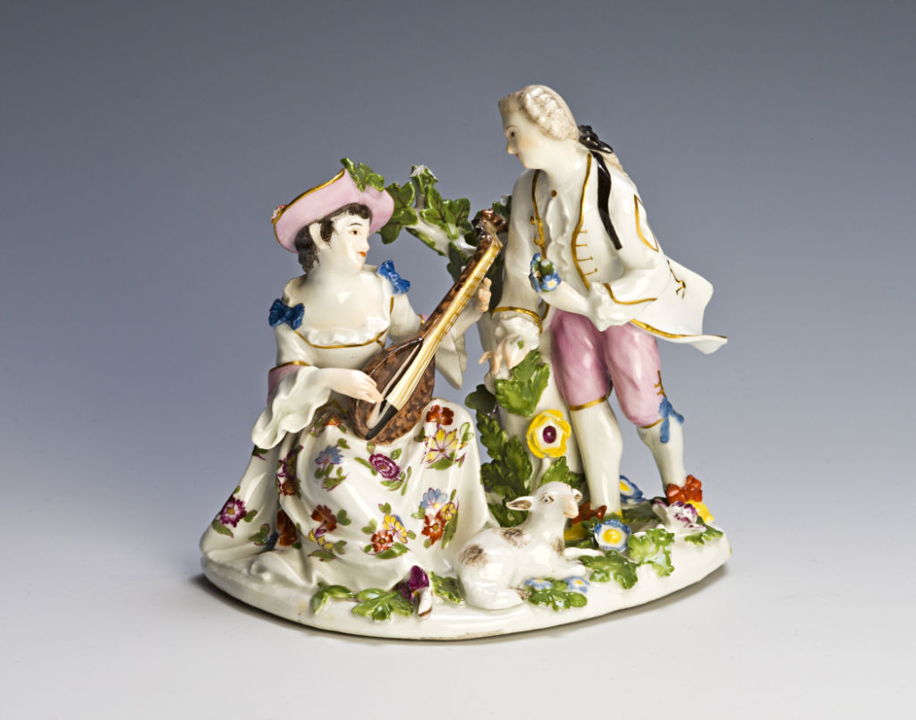 A Meissen pastoral group of a shepherdess and gallant, circa 1745.
