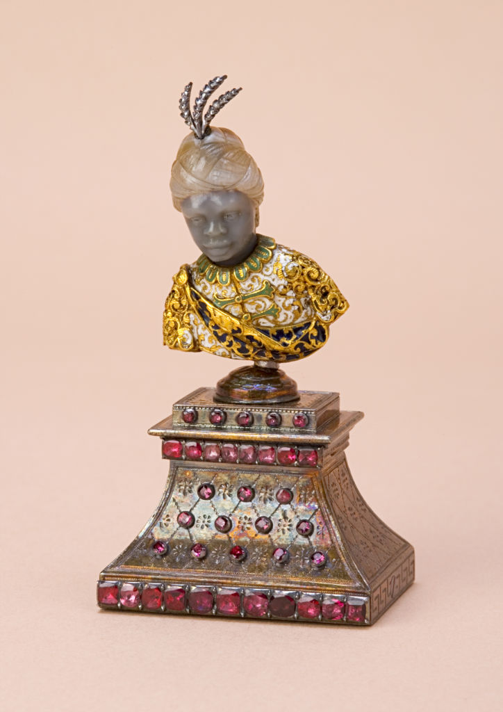 An Italian enamel, gold and gem-set agate bust of a Moor, circa 1600.
