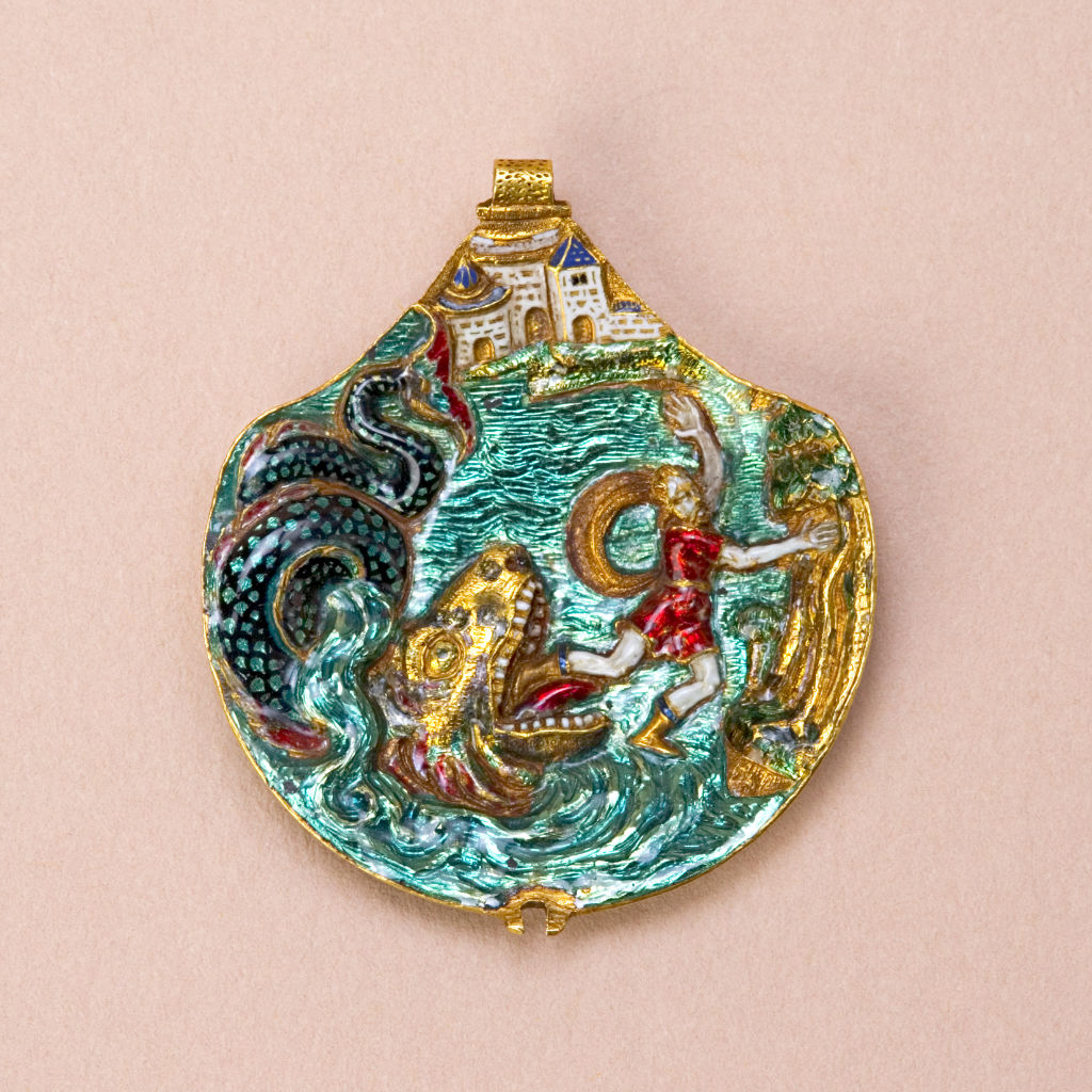 A German enamelled gold backplate of a pendant, circa 1570.
