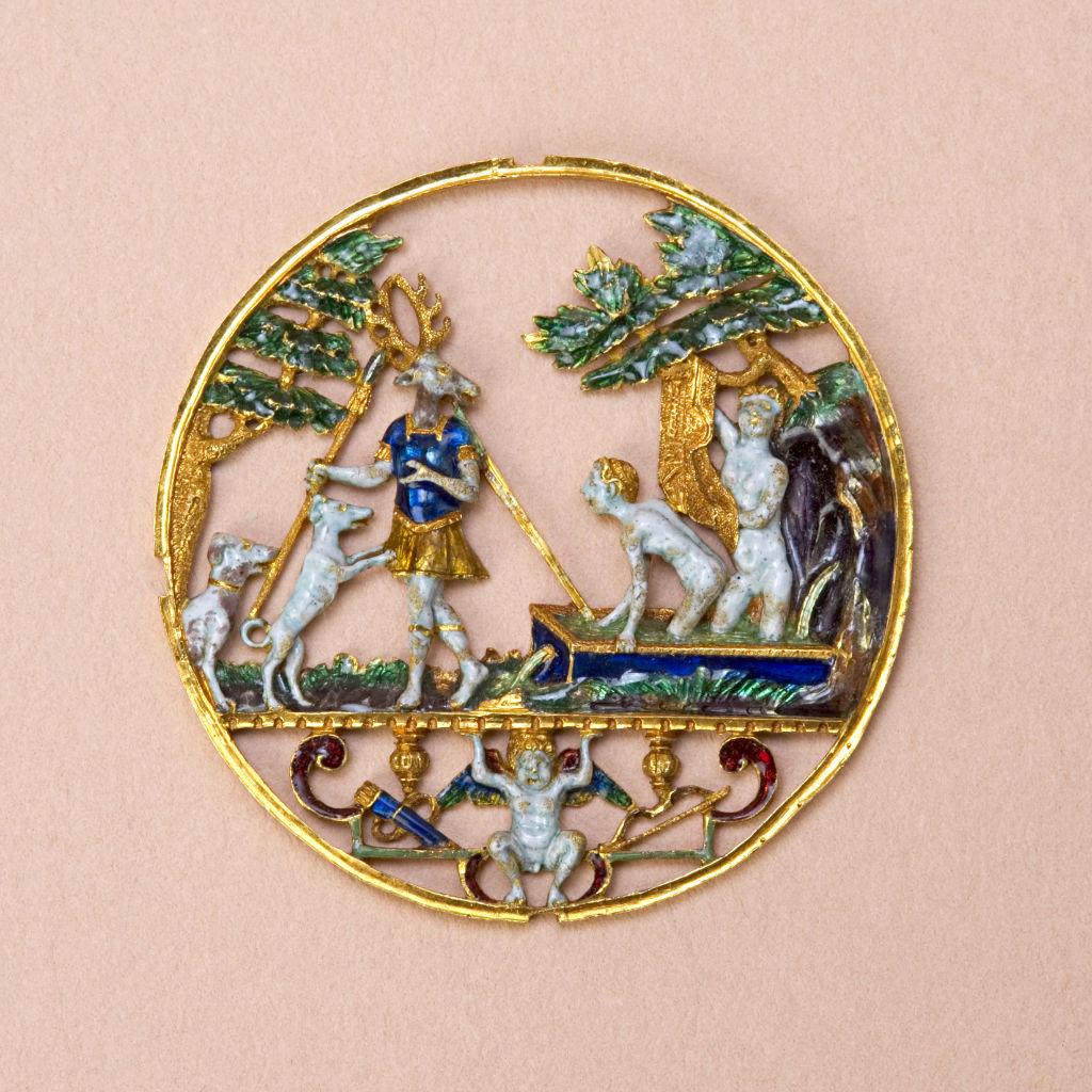 An Italian pierced enamelled gold roundel, circa 1570.