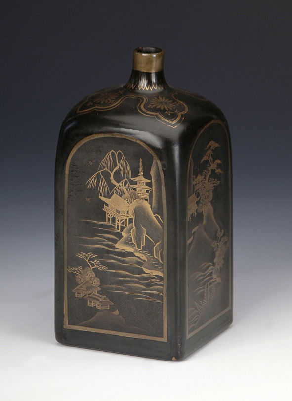 A square-section wine bottle, late 17th/early 18th Century.
