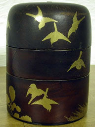 A four-tiered lacquer picnic box, possibly 17th Century.