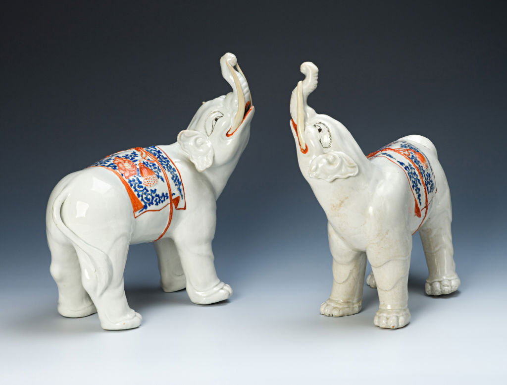 A pair of elephants, Japanese, circa 1680.