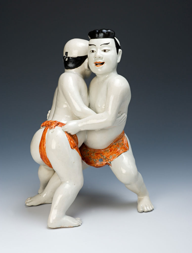 A Kakiemon style group of two wrestlers, circa 1670/85.