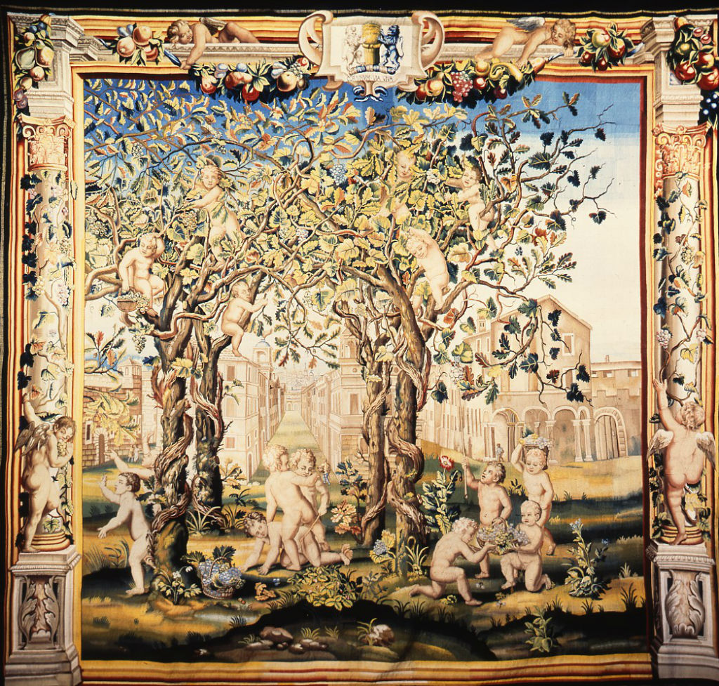 One of the Mortlake 'Playing Boys' Tapestries, circa 1670.