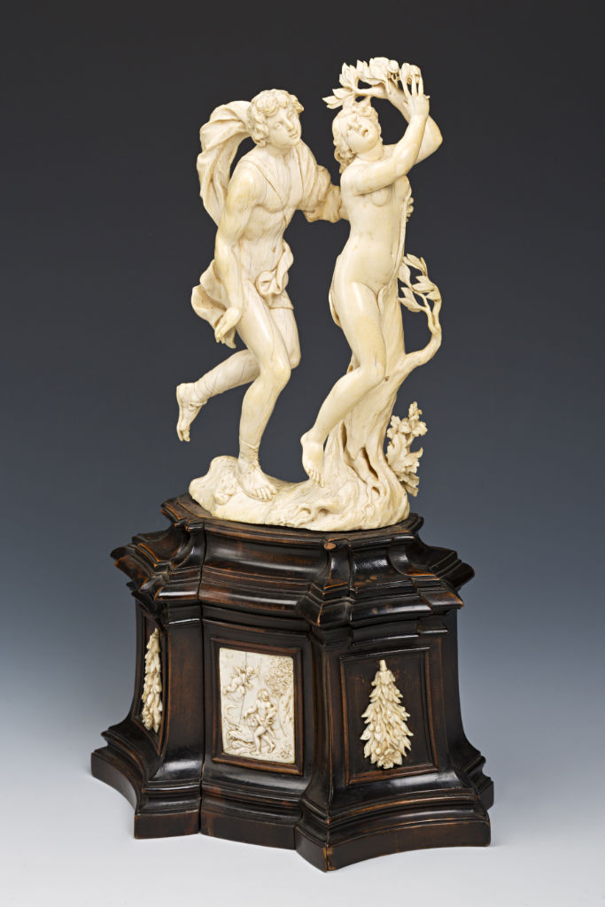 An Ivory Group of Daphne and Apollo, after Bernini, late 17th Century, South German or North Italian.
