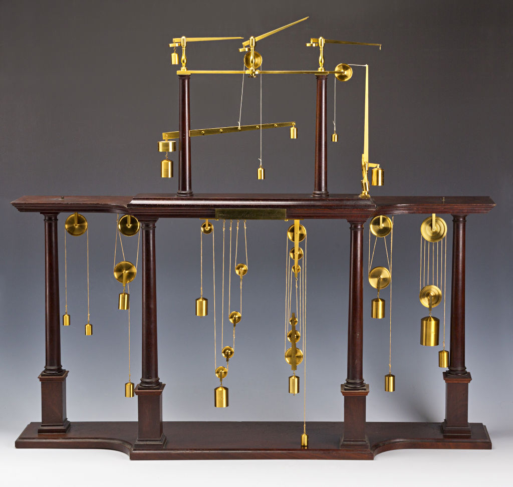 A Brass and Mahogany Pulley Frame, by J. Haas, London, circa 1770.