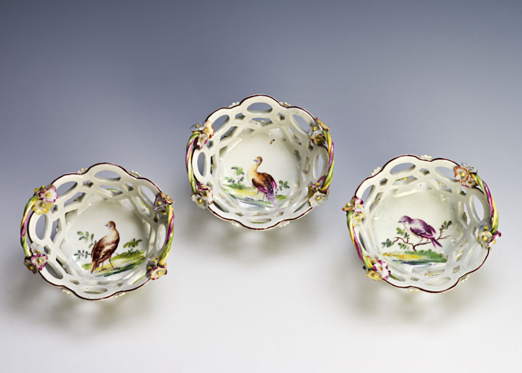 A set of five small Derby circular baskets, circa 1760.