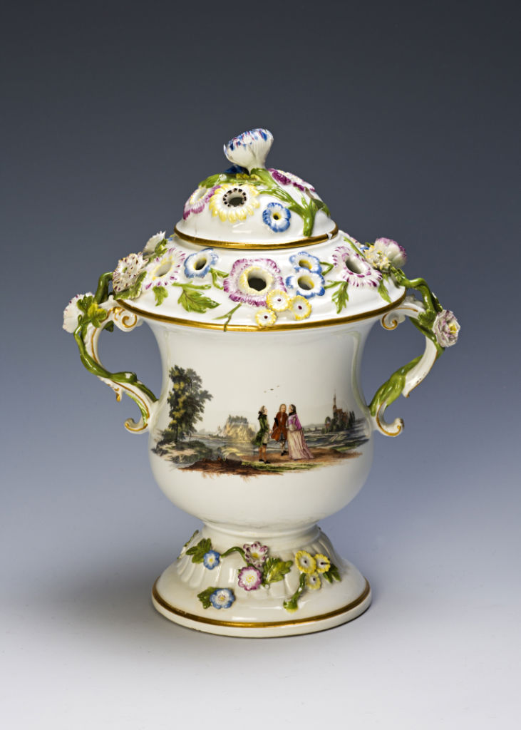 A pair of Meissen pot pourri vases and covers, circa 1750-1760.