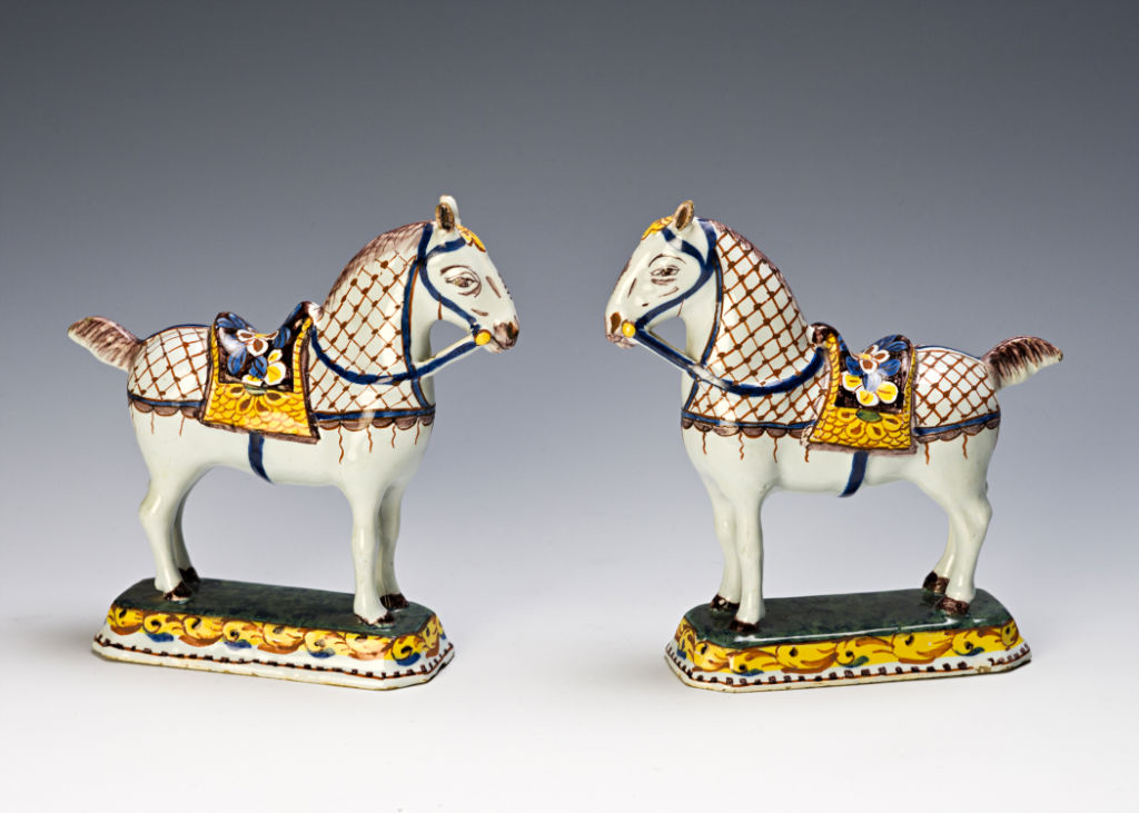 A pair of Dutch Delft horses, circa 1750-1770.