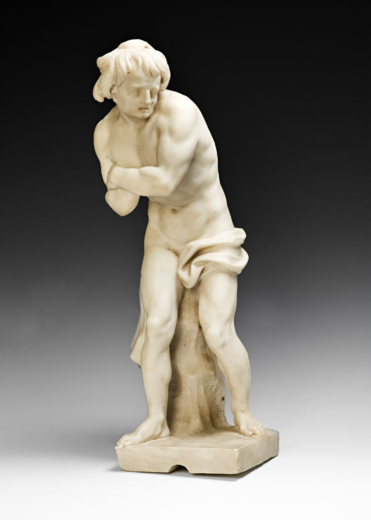 A Roman white marble figure of Narcissus and another, possibly Phineas turned to stone or possibly representing 'Winter', Studio of Domenico Guidi (1625 –1701).