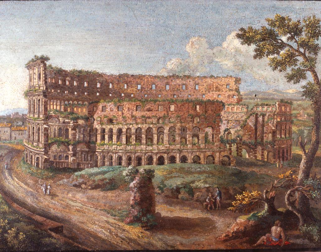 A pair of Roman micro-mosaic panels, 'The Coliseum' and 'The Temple of Vesta', signed Cesare Aguatti (Aguozzi) Romano, 1774.