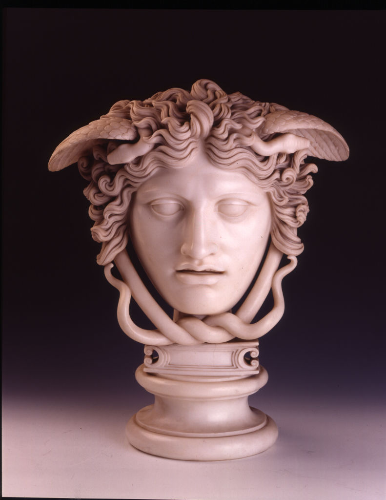 A white marble head of Medusa, by Joseph Nollekens, 1764.