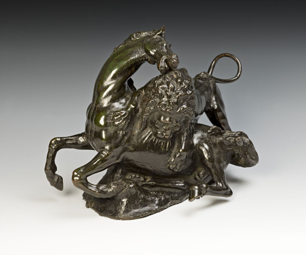 A bronze group of the Lion killing the Horse, after Giambologna, 17th Century, Italian.