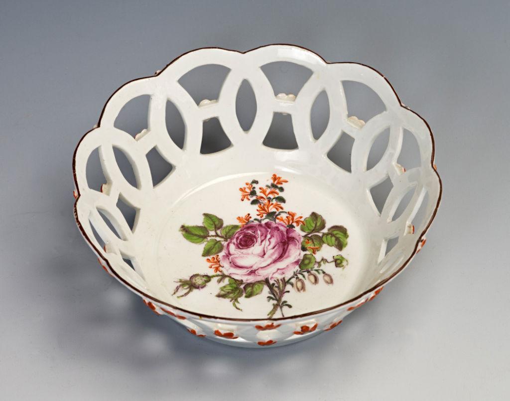 A Pair of Small Circular Chelsea Baskets, circa 1752-1757.