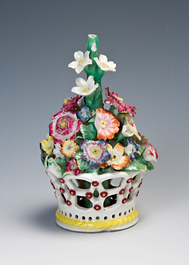 A set of three Derby baskets of flowers, circa 1760.