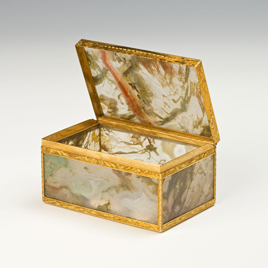 A group of small boxes, mostly made in Italy from Italian hardstones, such as Baltic amber, moss agate.