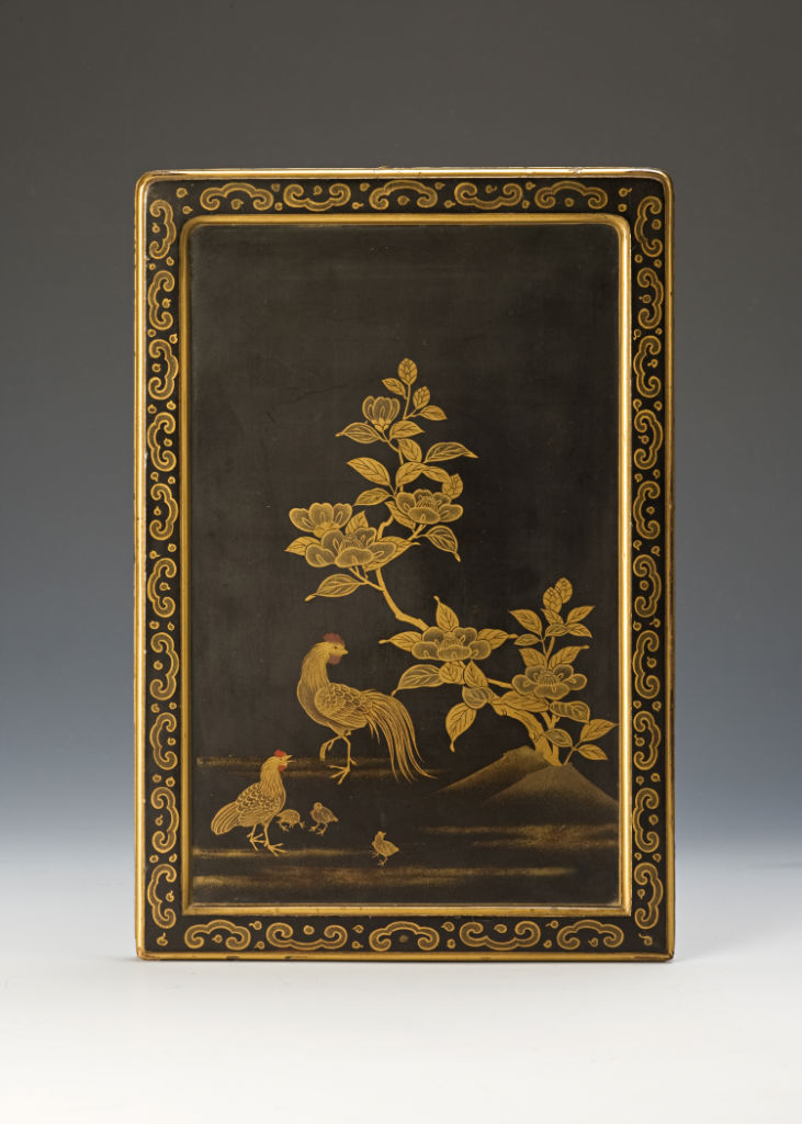 A lacquer panel for a table screen, 18th Century.