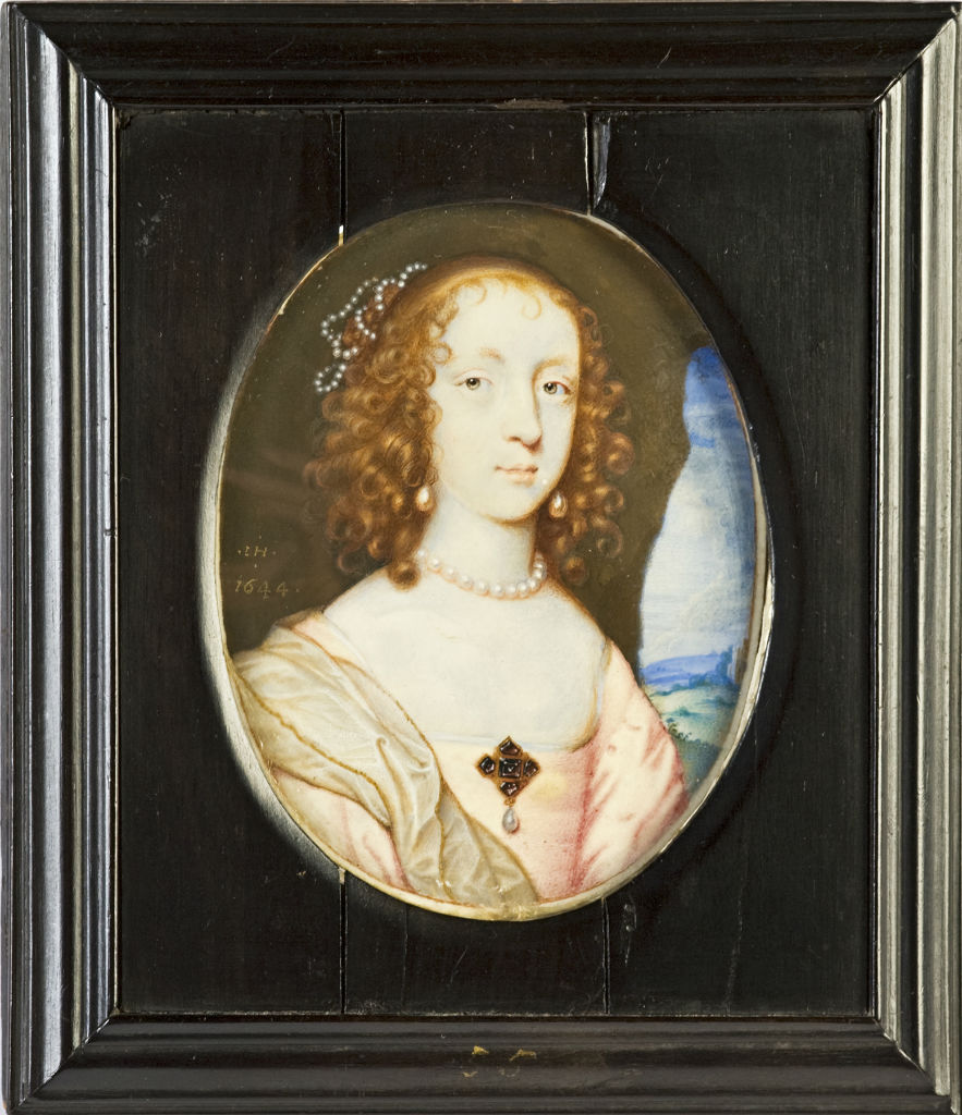 Elizabeth, Countess of Devonshire, nee Cecil, wife of the 3rd Earl of Devonshire, by John Hoskins (1590-1665), signed and dated 1644.